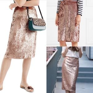 NWT j.crew rose gold sequin skirt blogger pencil 6